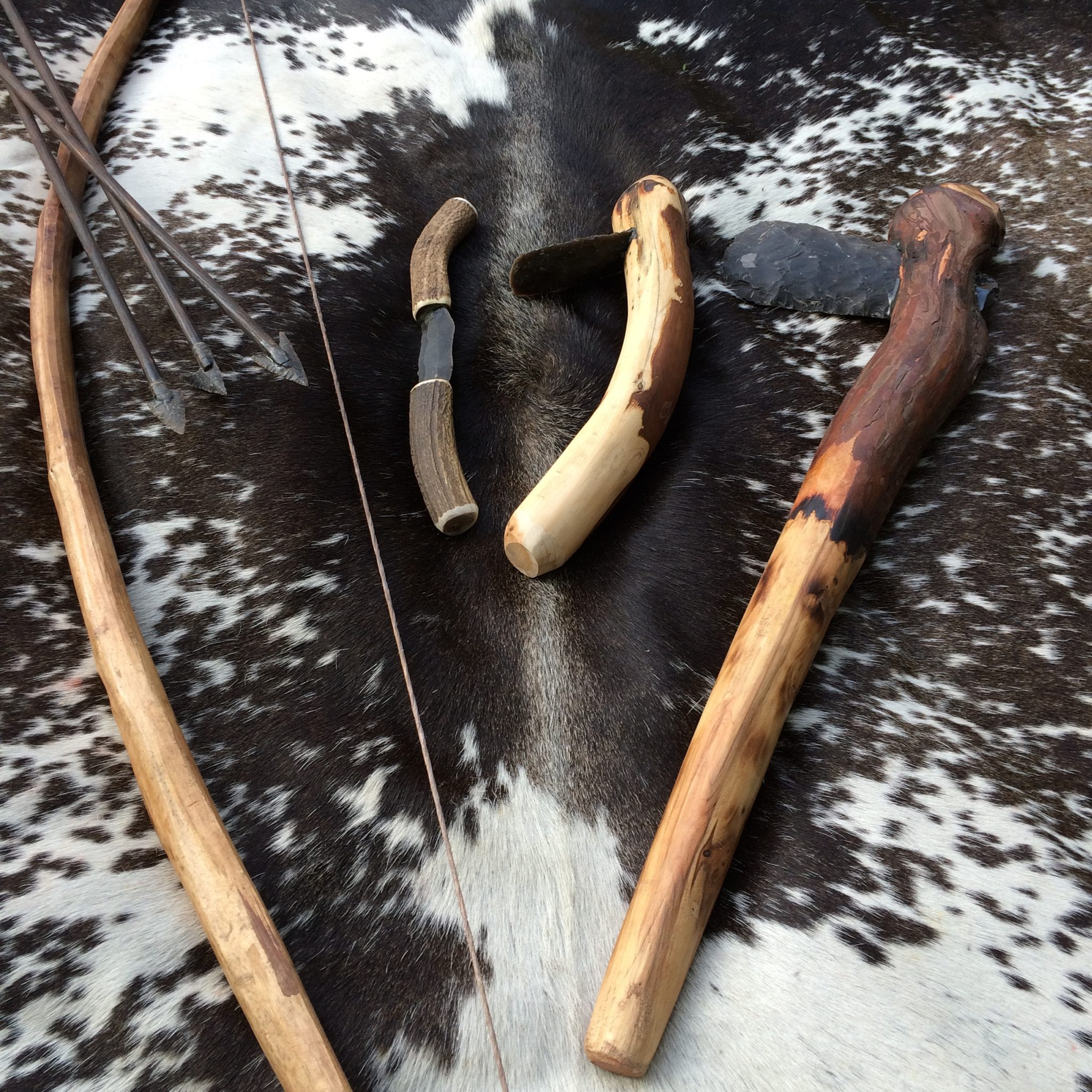 Neolithic Yew Bow with the Tools to Make It, Axe Adze and Draw Knife