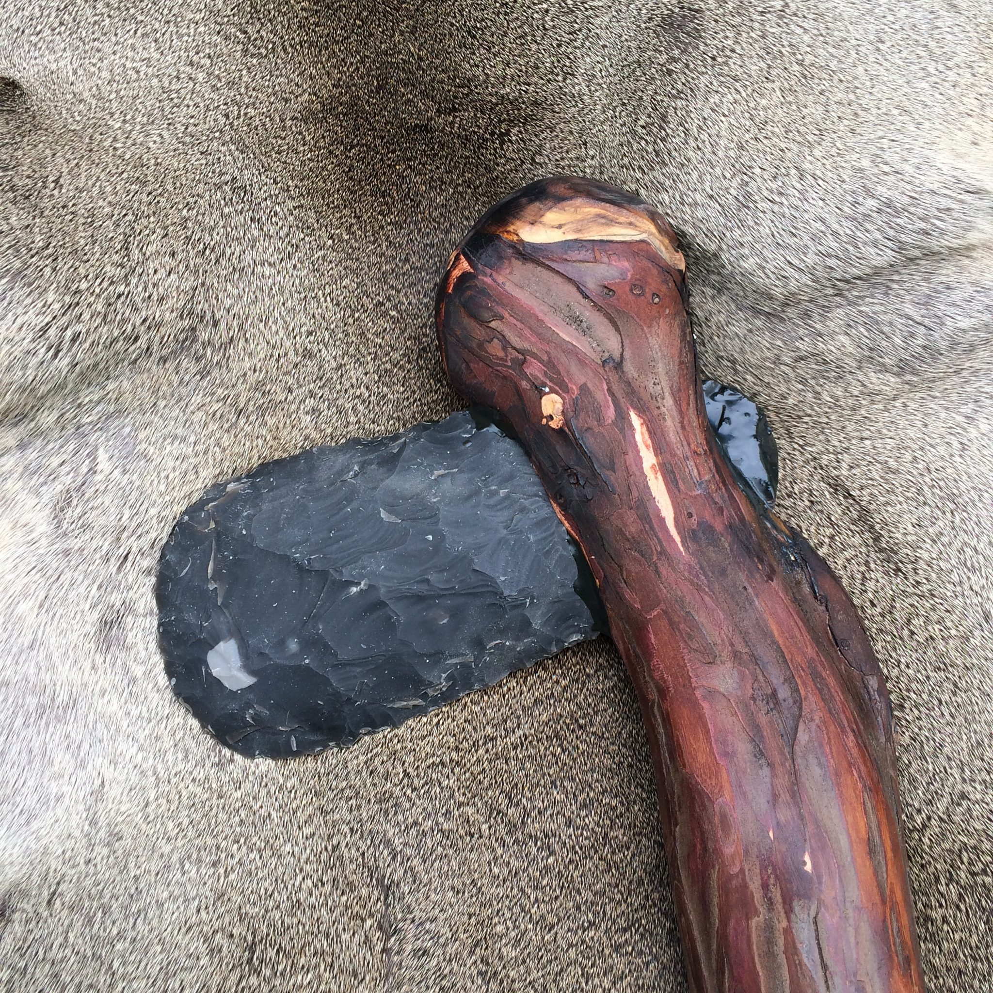 Neolithic Axehead in Wood Handle